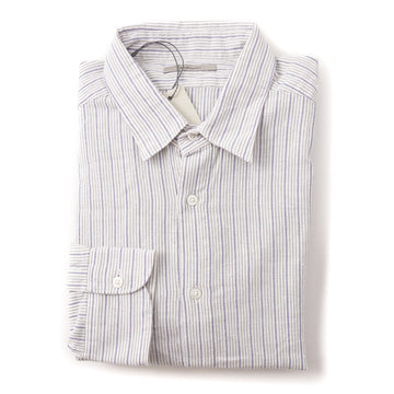 Boglioli Slim-Fit Cotton Shirt in Ivory and Blue Stripe