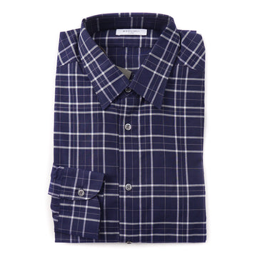 Boglioli Slim-Fit Cotton Shirt in Navy Blue Check