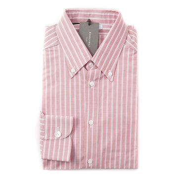 Boglioli Slim-Fit Oxford Cotton Shirt in Pink Stripe