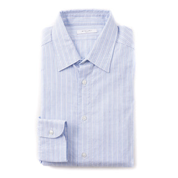 Boglioli Slim-Fit Cotton and Linen Shirt in Sky Blue