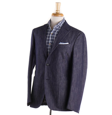 Boglioli Dark Blue Cotton and Silk Denim Suit