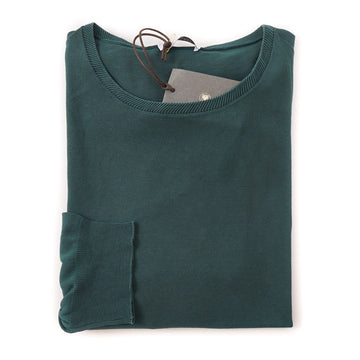 Boglioli Lightweight Cotton Sweater in Forest Green