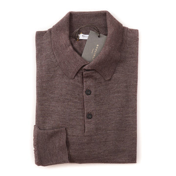 Boglioli Extrafine Cashmere-Silk Polo Sweater in Brown