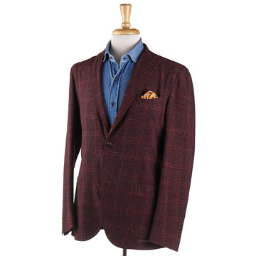 Boglioli Wool and Linen Sport Coat in Burgundy Check