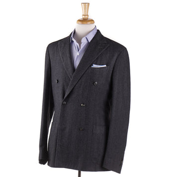 Boglioli Cashmere Sport Coat in Gray Herringbone