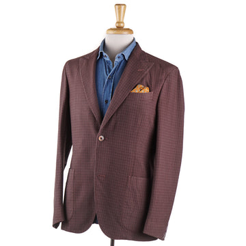 Boglioli Wool Sport Coat in Brick Red Jacquard