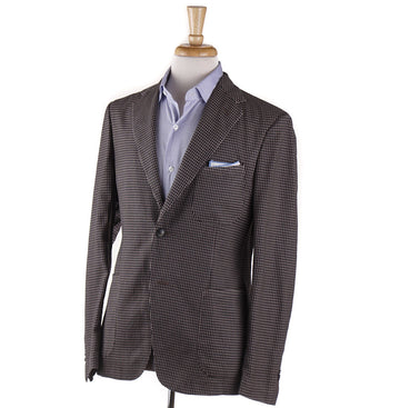 Boglioli Light Brown Houndstooth Check Wool Sport Coat