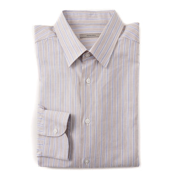 Boglioli Cotton Shirt in Tan and Blue Stripe