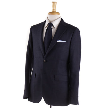 Boglioli Dark Blue Basket Check Wool Suit