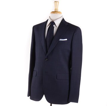 Boglioli Navy Blue Glen Plaid Wool Suit