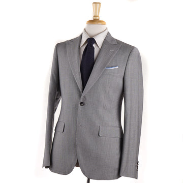 Boglioli Light Gray Houndstooth Check Wool Suit