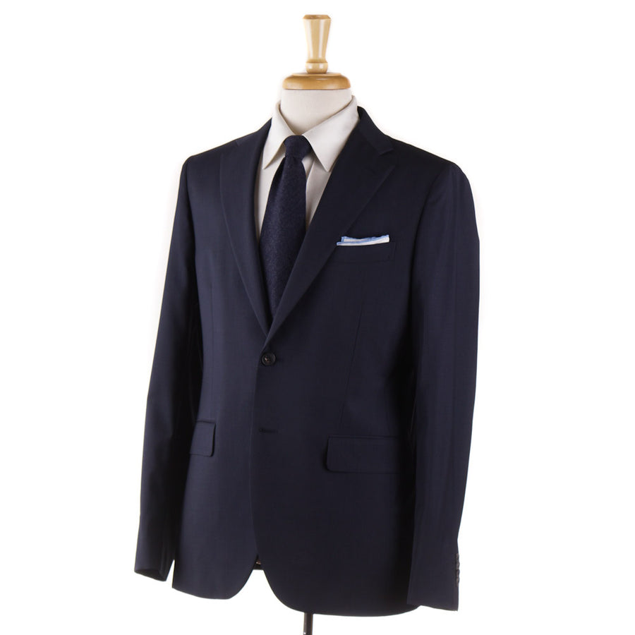 Boglioli Navy Blue Fine Striped Wool Suit