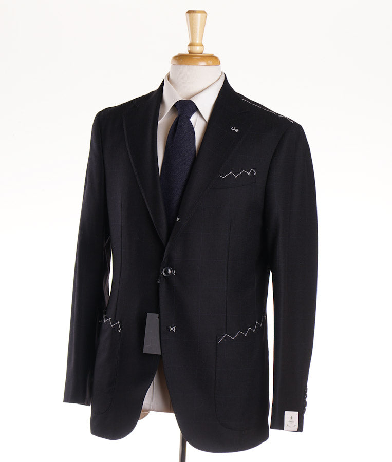 Borrelli Napoli Black Check Slim-Fit Wool Suit