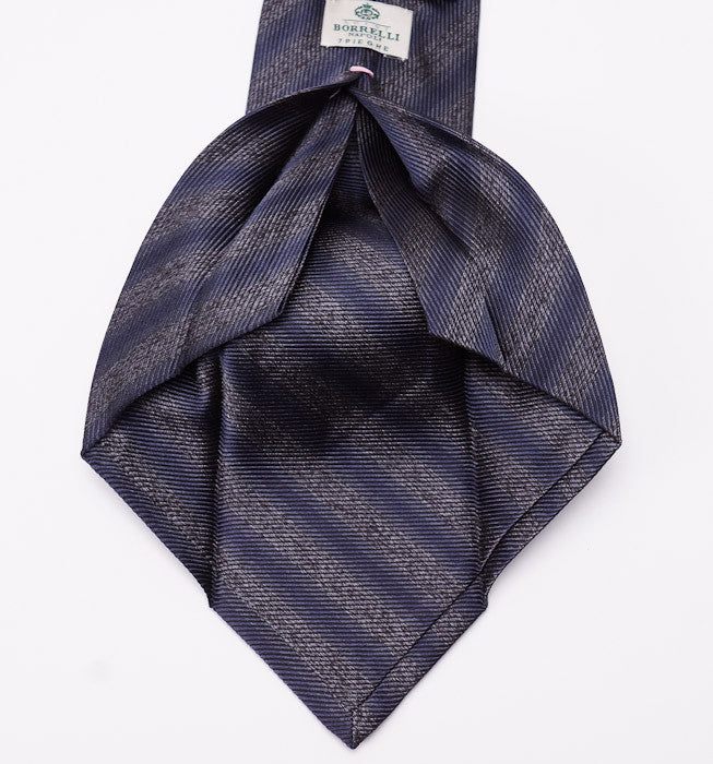 Borrelli Charcoal-Blue Stripe Silk Necktie - Top Shelf Apparel