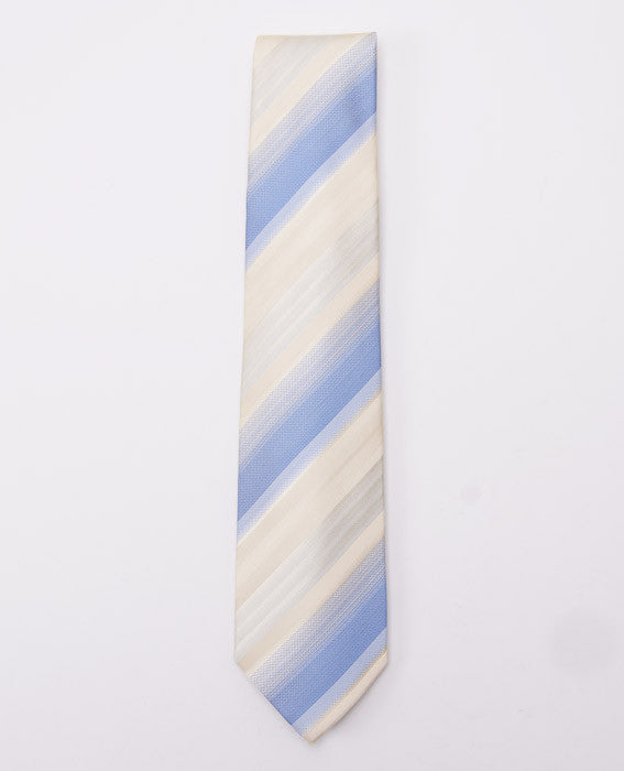 Borrelli Ivory-Sky Blue Stripe Necktie - Top Shelf Apparel - 2