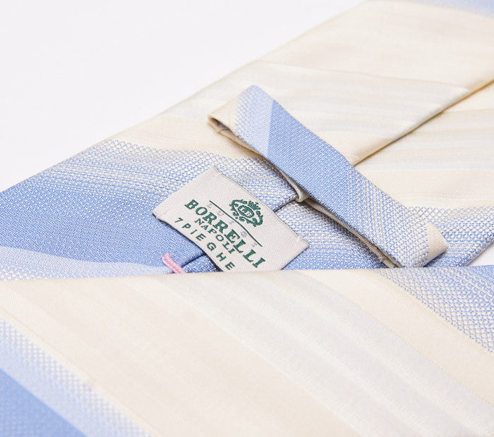 Borrelli Ivory-Sky Blue Stripe Necktie - Top Shelf Apparel - 3