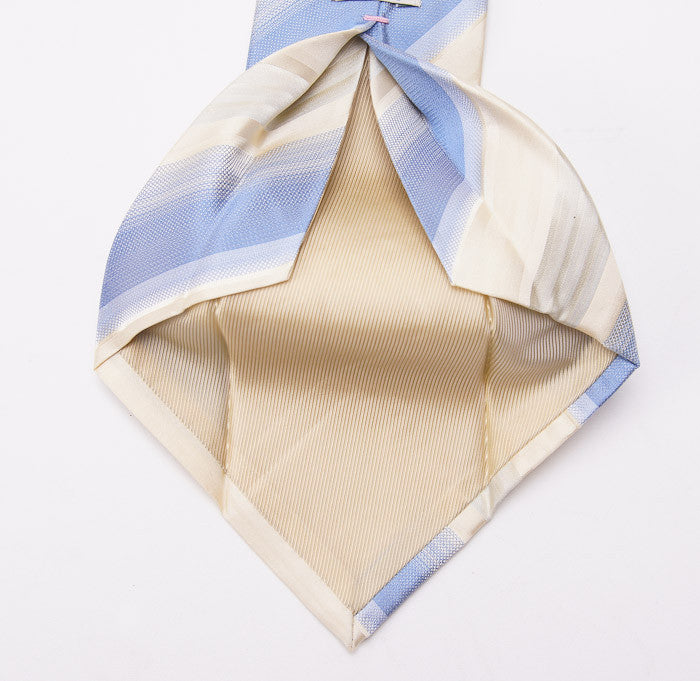 Borrelli Ivory-Sky Blue Stripe Necktie - Top Shelf Apparel - 4