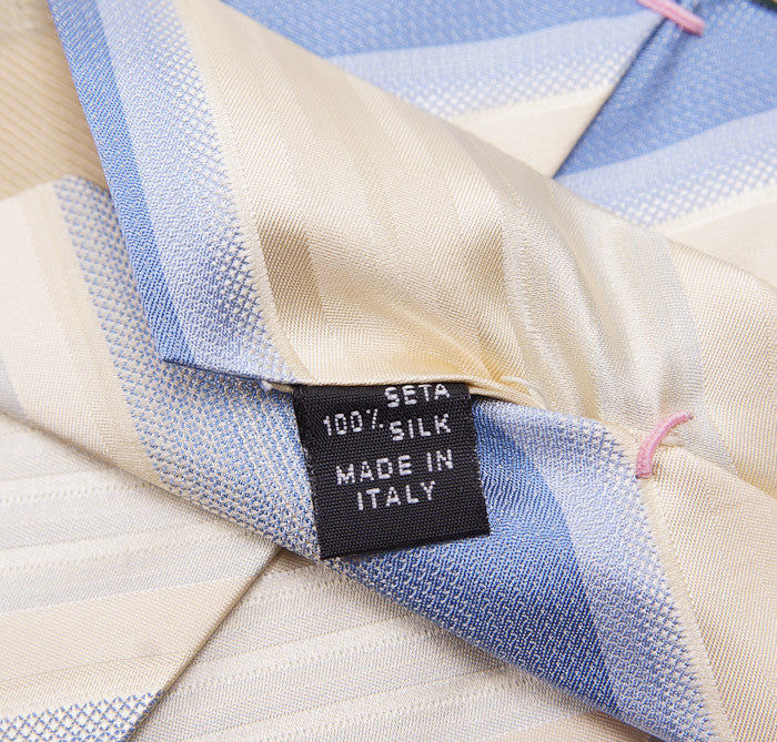 Borrelli Ivory-Sky Blue Stripe Necktie - Top Shelf Apparel - 5