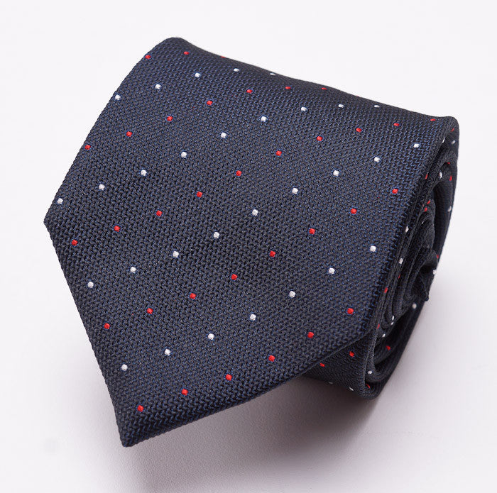 Borrelli Navy Dot Pattern Silk Necktie - Top Shelf Apparel