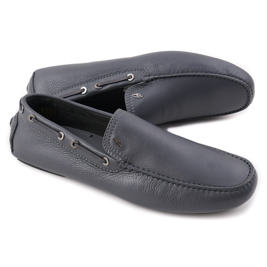 Brioni Gray Calf Leather Driving Loafers