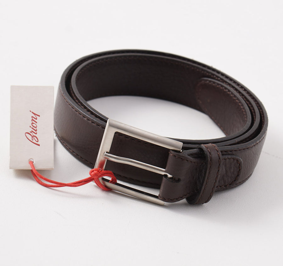 Brioni Soft Grained Leather Belt in Chocolate Brown - Top Shelf Apparel