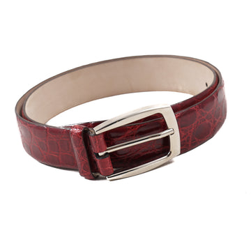 Brioni Crocodile Belt in Dark Red