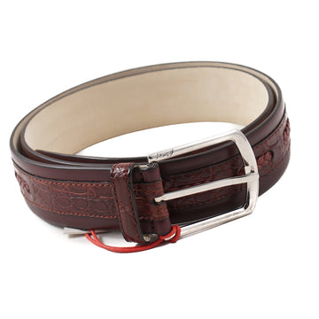 Brioni Crocodile and Calf Belt in Burgundy