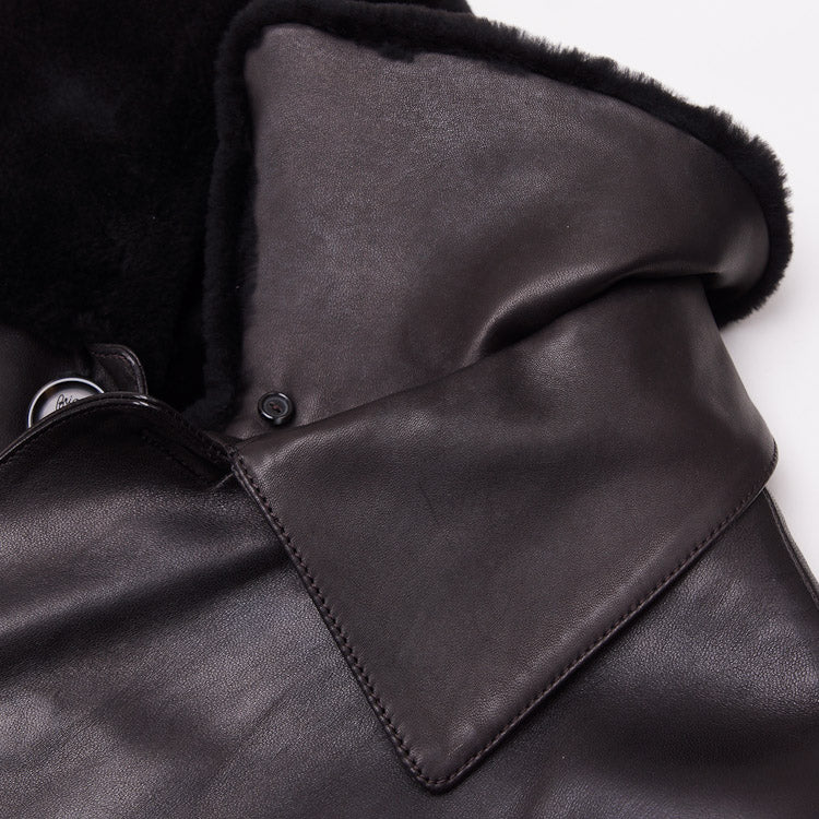 Brioni Leather Coat with Nutria Fur Lining