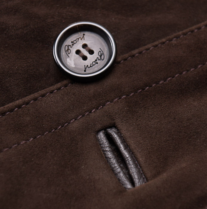 Brioni Chocolate Leather Coat with Cashmere Lining - Top Shelf Apparel