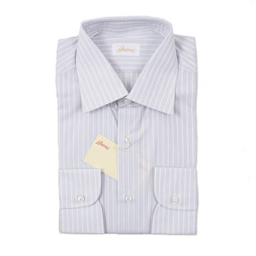 Brioni Gray Striped Cotton Dress Shirt