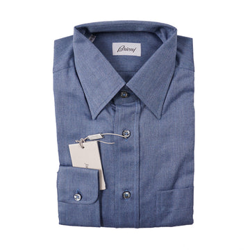 Brioni Blue Herringbone Soft Cotton Shirt