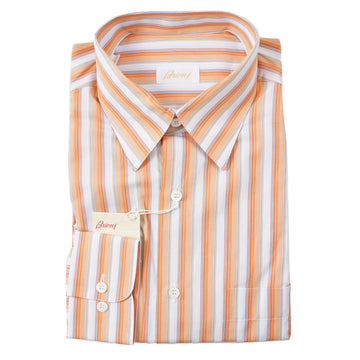 Brioni Orange-Sky Stripe Cotton Shirt