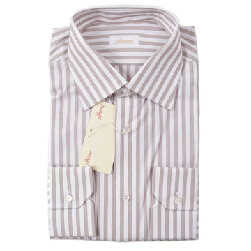 Brioni Brown Stripe Cotton Shirt