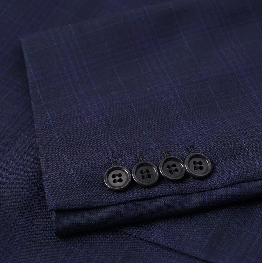 Brioni Navy Blue Check Super 150s Wool Suit - Top Shelf Apparel