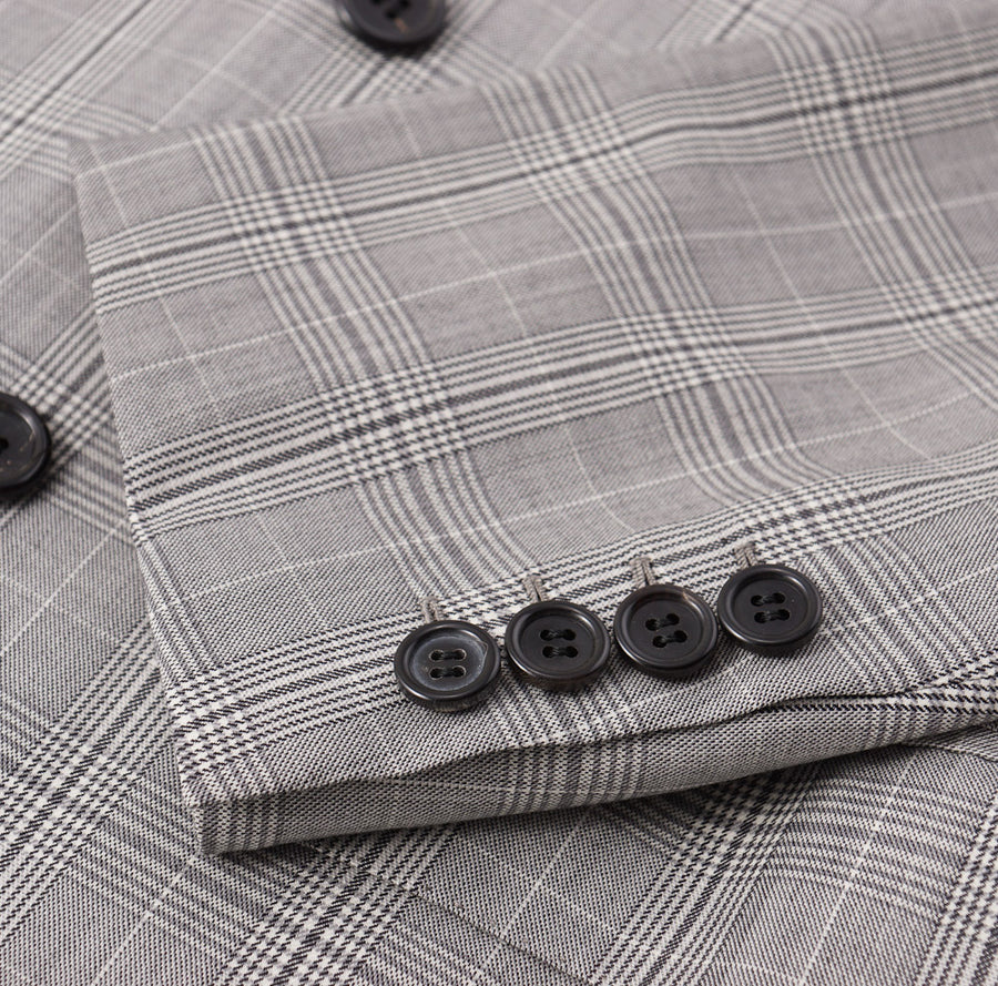 Brioni Gray Check Double-Breasted 'Gaetano' Suit - Top Shelf Apparel