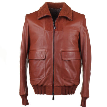 Cesare Attolini Down-Filled Leather Jacket with Shearling Collar - Top Shelf Apparel