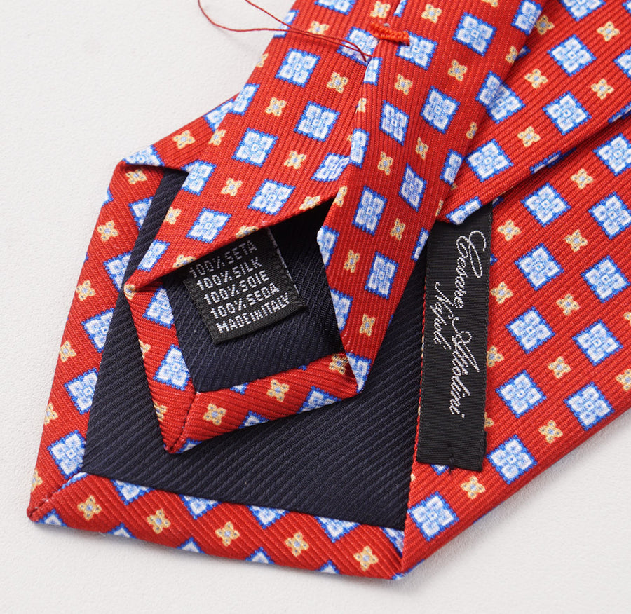 Cesare Attolini Red and Blue Floral Print Silk Tie