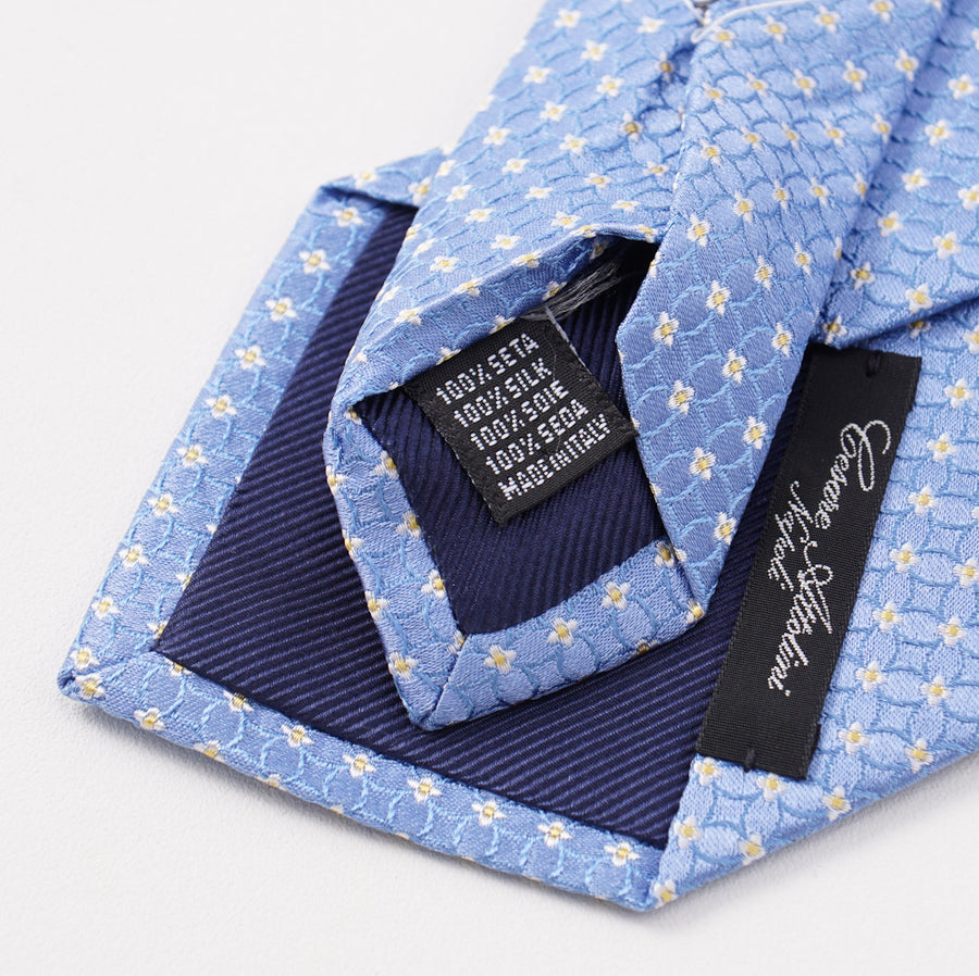 Cesare Attolini Sky Blue Floral Pattern Silk Tie - Top Shelf Apparel