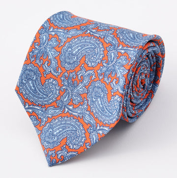 Cesare Attolini Orange-Blue Paisley Silk Tie