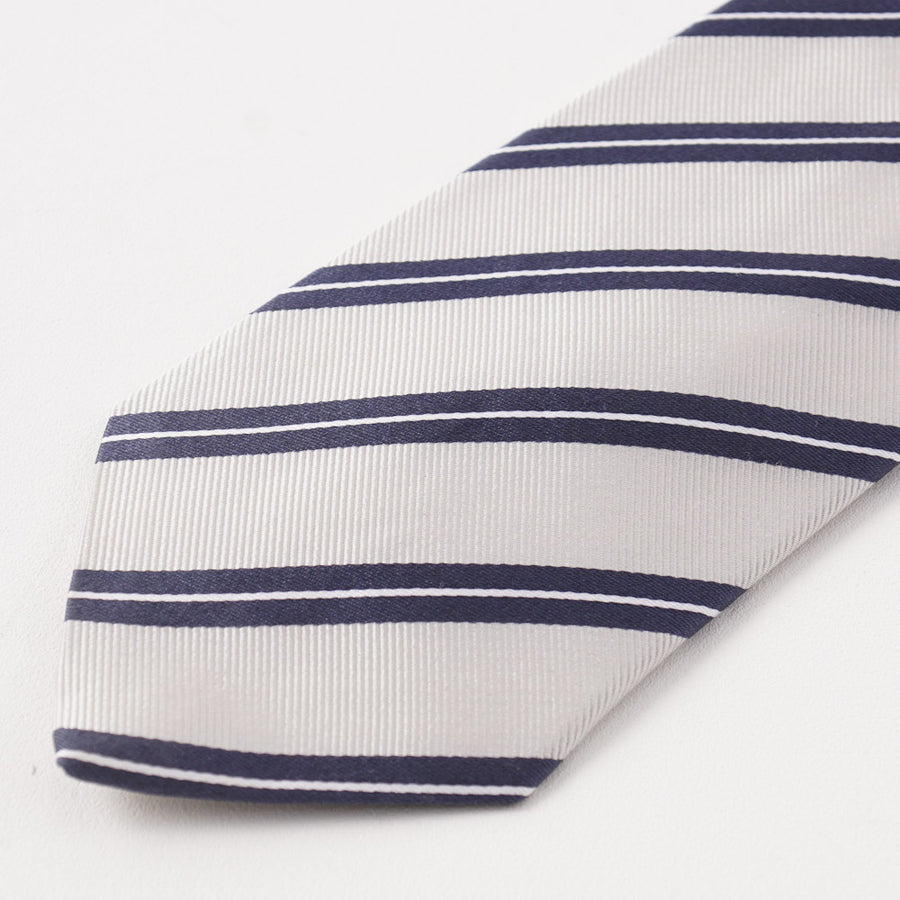 Cesare Attolini Slate Blue Ribbon Stripe Silk Tie - Top Shelf Apparel
