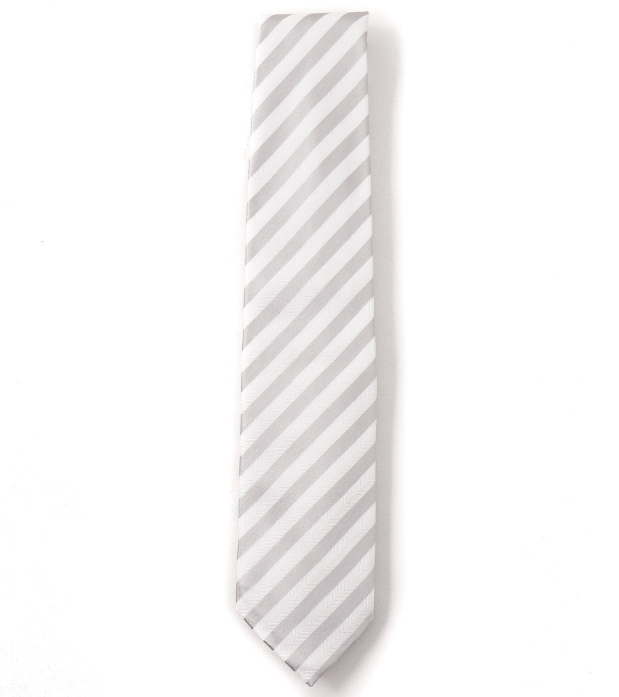 Cesare Attolini Silver and White Striped Silk Tie