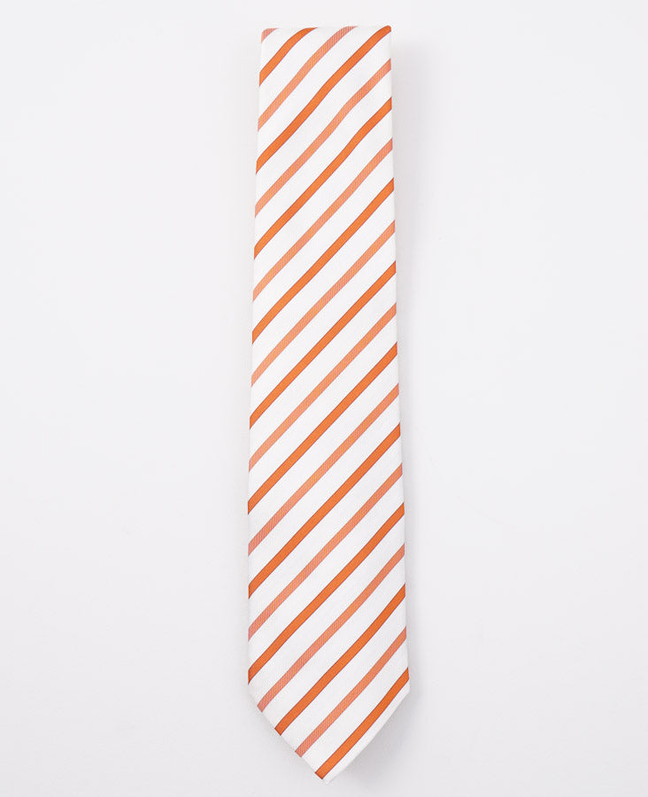 Cesare Attolini Orange Striped Silk Tie