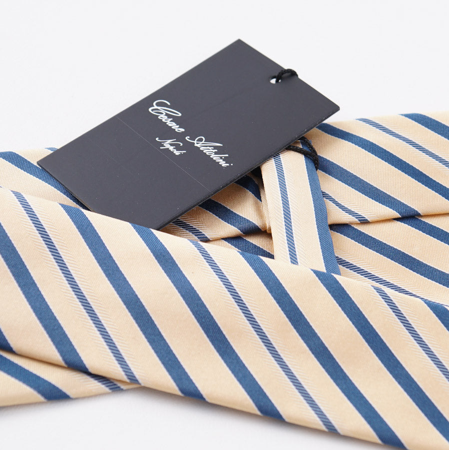 Cesare Attolini Yellow-Blue Striped Silk Tie