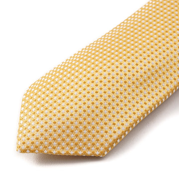 Cesare Attolini Golden Yellow Dot Patterned Silk Tie