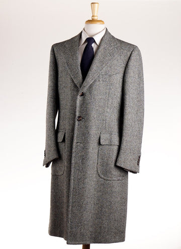 Cesare Attolini Sage Green Tweed Wool Coat