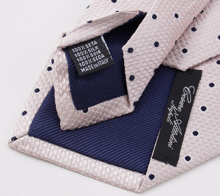 Cesare Attolini Pale Pink Dot Pattern Silk Tie - Top Shelf Apparel