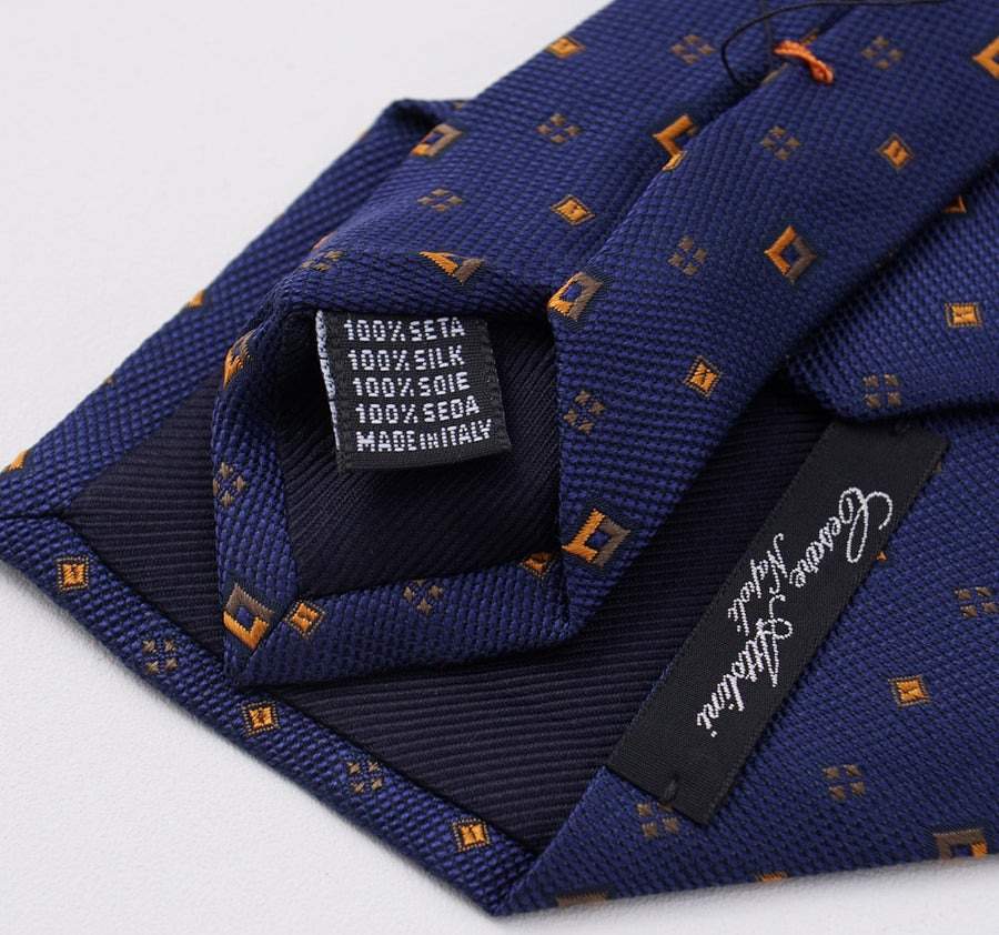Cesare Attolini Navy-Orange Jacquard Silk Tie - Top Shelf Apparel