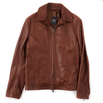 Cesare Attolini Leather Bomber Jacket in Reddish Brown