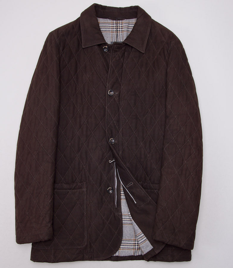 Cesare Attolini Quilted Brown Suede Coat Eu 50/US 40 - Top Shelf Apparel - 3