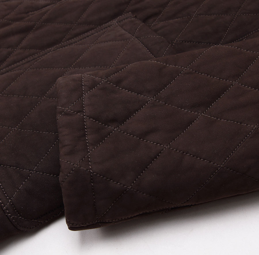 Cesare Attolini Quilted Brown Suede Coat Eu 50/US 40 - Top Shelf Apparel - 4